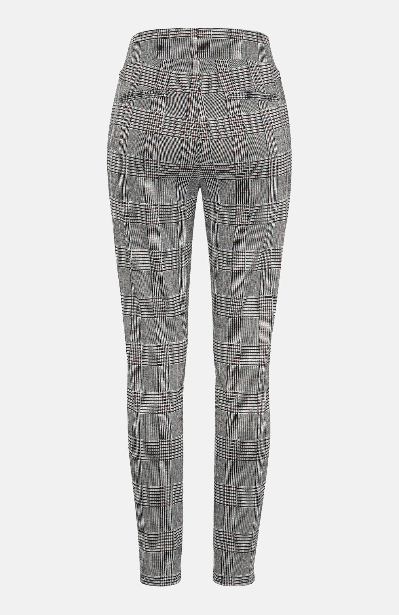 Kostkované kalhoty ze strečového žakárového úpletu