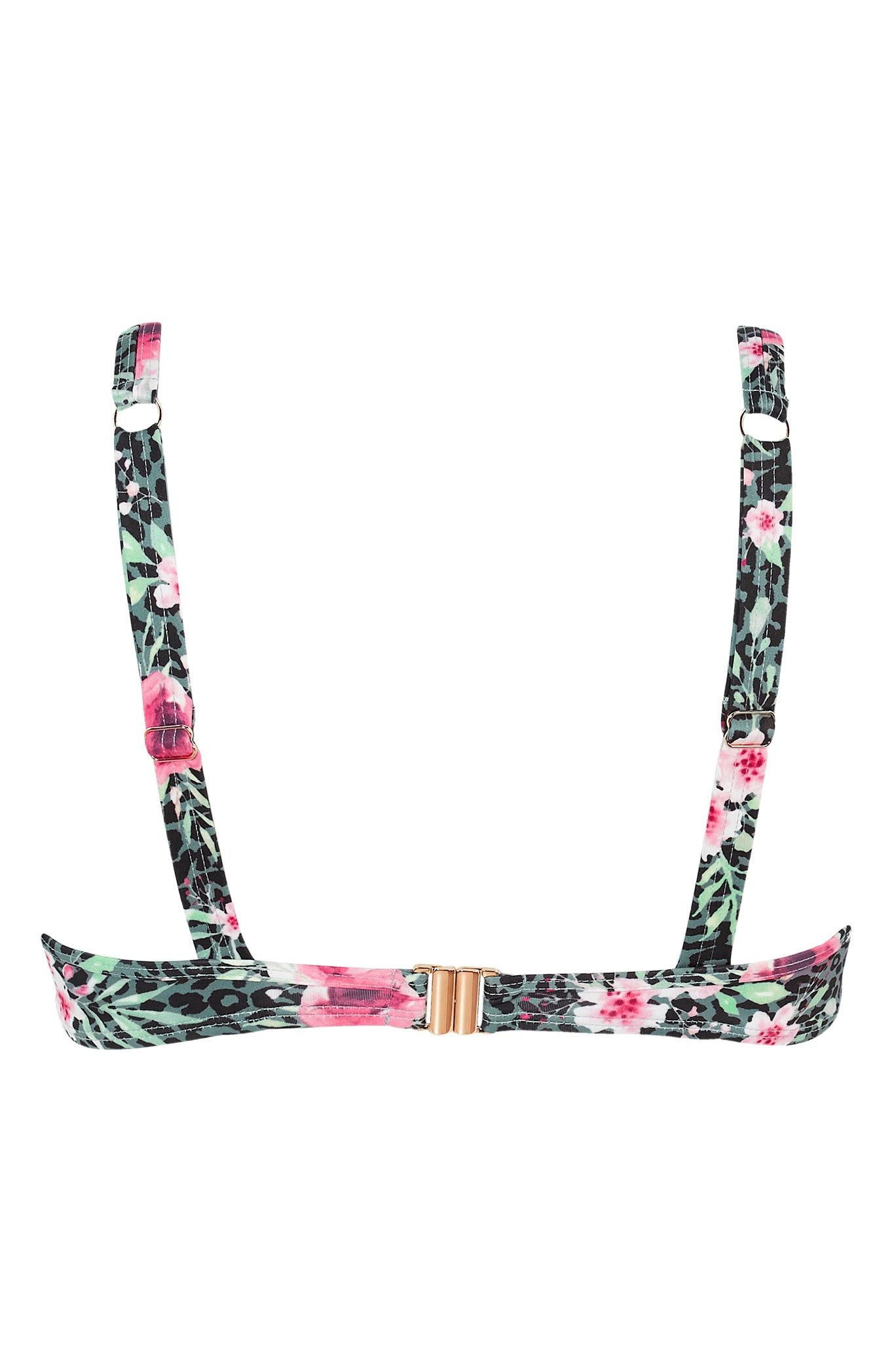 Květovaná bikinová podprsenka s kosticemi